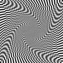 Checkered, Chequered, Chessboard Surface With Distortion, Deformation Effect. Distort, Deform Squares Background, Pattern. Ripple, Wavy Version