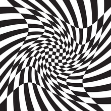 Checkered, Chequered, Chessboard Surface With Distortion, Deformation Effect. Distort, Deform Squares Background, Pattern. Ripple, Wavy Version