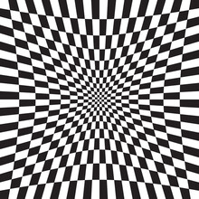 Hollow, Indent, Depression Version Checkered, Chequered, Chessboard Surface With Distortion, Deformation Effect. Distort, Deform Squares Background, Pattern