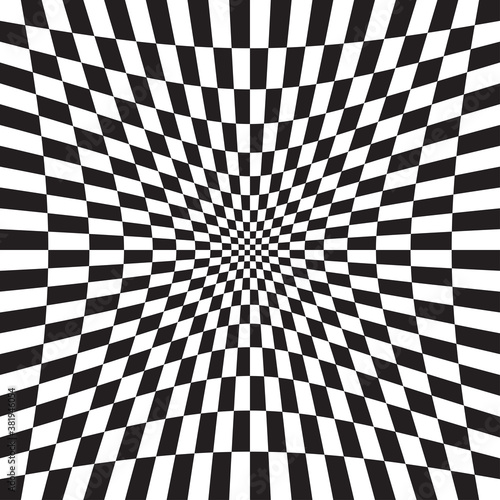 Fotografia Hollow, indent, depression version Checkered, chequered, chessboard surface with distortion, deformation effect