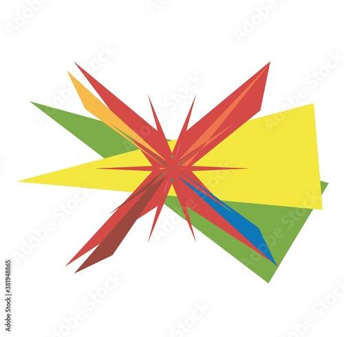Abstract random geometry shape. Generative art geometric angular, edgy illustration. Weird, strange colorful design element Wall mural