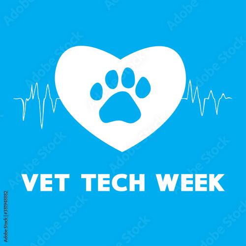 Vet tech week blue concept, pet doctor vector banner.