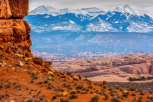 La Sal Mountains In Arches National Park, Utah