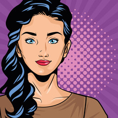 young woman character pop art style in purple background