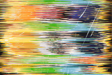 Colorful Noise Background. Scratched Film. Yellow Blue Gradient Glitch Artifacts Abstract Pattern.