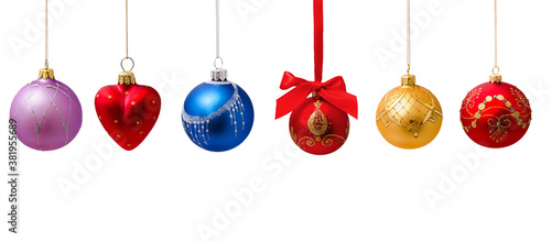Fototapeta Collection of photos hunging christmas balls isolated obraz