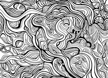Black And White Abstract Decorative  Ornament With Many Crazy Swirl Lines Coloring Page.