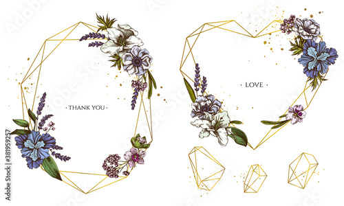 Fotografía Golden frame with anemone, lavender, rosemary everlasting, phalaenopsis, lily, i