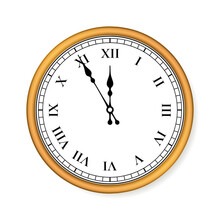 Old Circle Clock On White Background. Vector Illustration