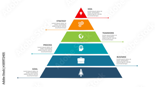 Fotografie, Obraz Vector pyramid up arrows infographic, diagram chart, triangle graph presentation