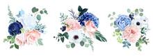 Classic Navy Blue, White, Blush Pink Rose, Hydrangea, Ranunculus, Dahlia