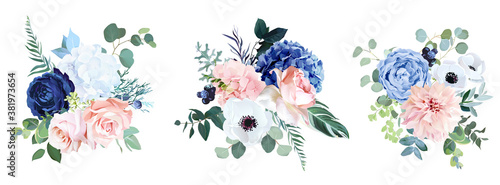 Classic navy blue, white, blush pink rose, hydrangea, ranunculus, dahlia Wallpaper Mural