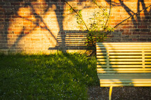 Shadow Of Bench On Brick Wall ...