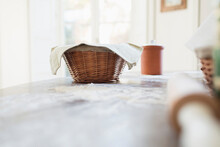 Bread Dough Proofing In Basket...