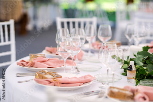 Fototapeta Luxury wedding table decoration in pink and white
