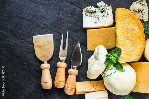 Fototapeta cheese many different types and grades meal on the table tasty serving size  top view copy space for text food background rustic obraz