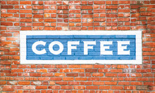 Brick Wall With Blue Painted S...