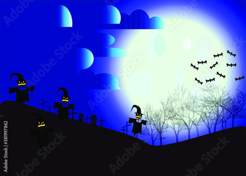 Halloween background with a scarecrow and a pumpkin against the background of grave crosses on a moonlit night Canvas-taulu