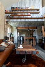 Rustic Interior With Bookcases...