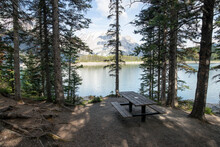 Camping Picnic Table At Scenic Mountain Lakeside