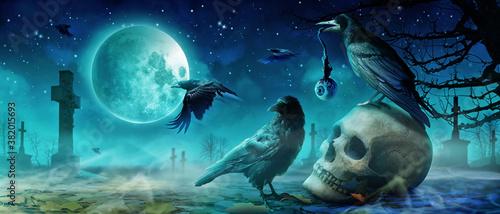 Fotografía Halloween Motiv mit Krähen auf dem Friedhof