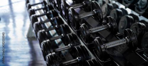 close up dumbbell on gym for sport exercise Fotobehang