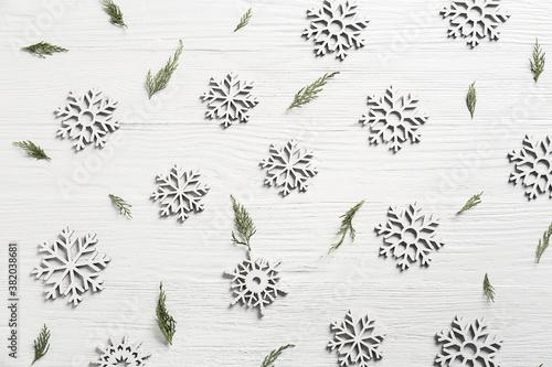 Fototapeta Beautiful Christmas snowflakes on light background obraz