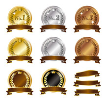 茶色いリボン高級感のあるの金銀銅ランキングメダルのアイコン/白背景
