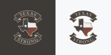 Set Of Color Illustrations Of Texas State Map, Ribbon And Text In Old Form. Vector Illustration In Vintage Style With Grunge Texture. Illustration For Prints And Stickers. Emblem, Logo Of Texas.