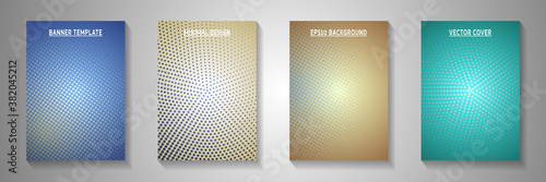 Fototapeta Grunge circle perforated halftone cover page templates vector series. Corporate poster faded  obraz