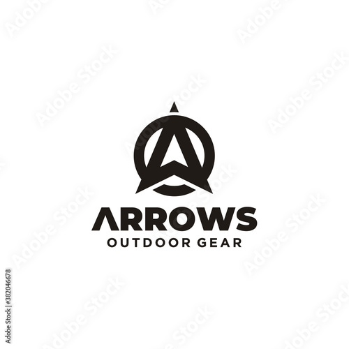 Initial Letter A Arrow with Arrowhead for Archer Archery Outdoor Apparel Gear Hu Wallpaper Mural