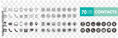 Obraz Set of 70 Contact Us web icons in line style - fototapety do salonu
