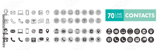 Set of 70 Contact Us web icons in line style Fototapete