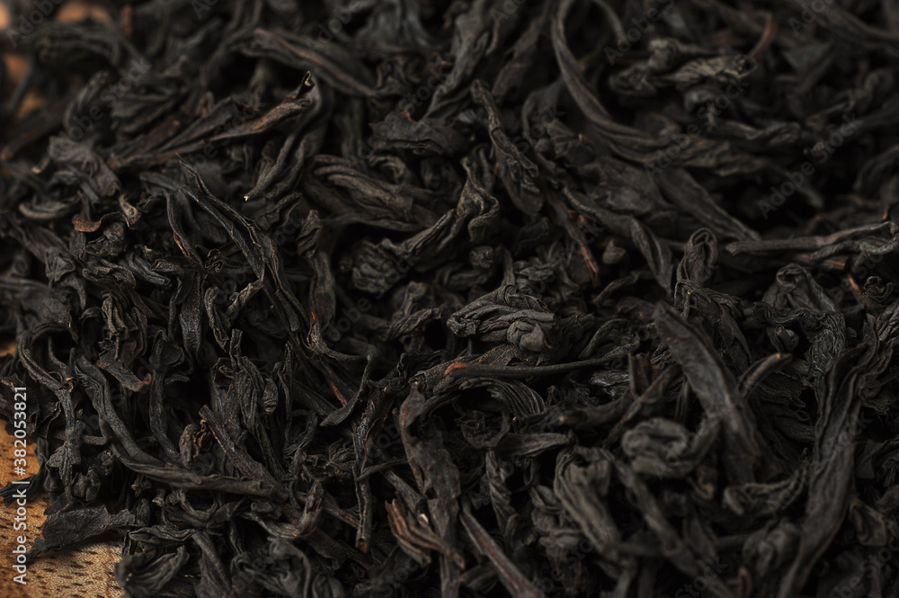 Fototapeta black leaf tea - top view