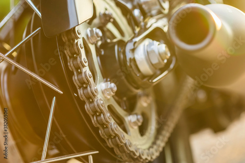 Photo Clean rear chains and sprocket of motorcycle wheel