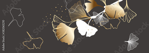 Luxury autumn and fall  background vector with golden metallic ginkgo leaf decorate
