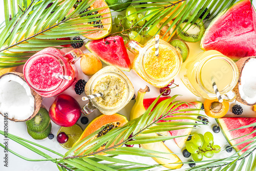 Assorted tropical fruit smoothies