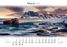 Calendar March 2021, B3 Size. Set Of Calendars With Amazing Landscapes. Dramatic Morning View Of Haukland Beach, Vastvagoy. Spectacular Sunrise On Lofoten Island, Norway, Europe.