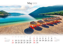 Calendar May 2021, B3 Size. Set Of Calendars With Amazing Landscapes. Stunning Morning View Of Antisamos Beach. Bright Spring Seascape Of Ionian Sea, Kefalonia Island, Greece, Europe.