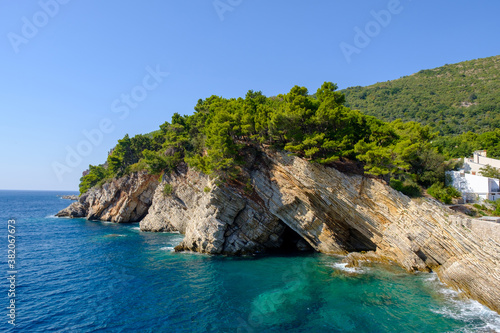 View of the cliffs from Castello fortress in Petrovac, Montenegro Wallpaper Mural