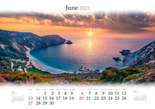 Calendar June 2021, B3 Size. Set Of Calendars With Amazing Landscapes. Unbelievable Summer View Of Petani Beach. Majestic Sunset On Cephalonia Island, Greece, Europe.