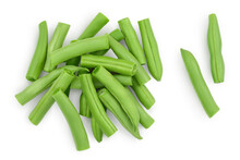 Green Beans Isolated On A White Background With Clipping Path, Top View. Flat Lay