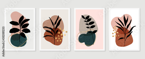 Botanical wall art vector set. Earth tone boho foliage line art drawing with  abstract shape.  Abstract Plant Art design for print, cover, wallpaper, Minimal and  natural wall art..