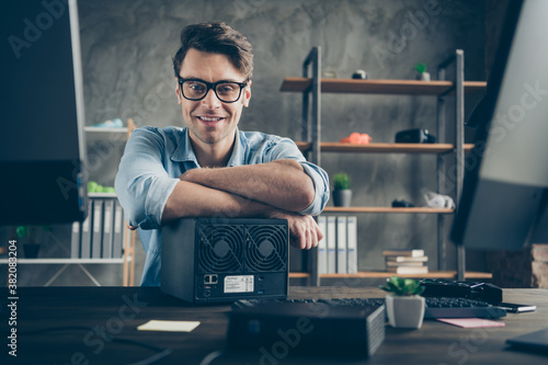Obraz Portrait of his he nice attractive cheerful cheery confident geek guy top tech manager remote part-time building process teamwork at modern concrete wall interior style work place station indoors - fototapety do salonu