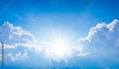 Photographie Beautiful religious image - bright light from heaven, light of hope and happyness from skies