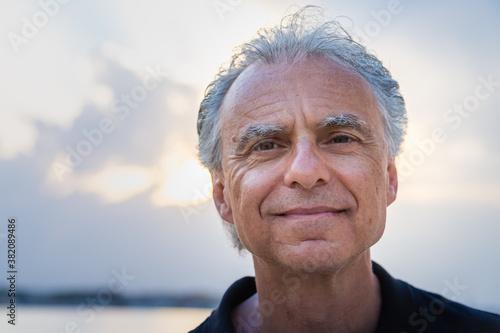 handsome senior man smiling