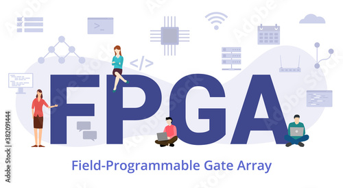 Fototapeta fpga field programmable gate array concept with modern big text or word and people with icon related modern flat style obraz
