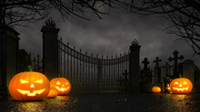 Cemetery Entrance Gate With Sc...