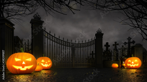 Cemetery entrance gate with scary halloween pumpkins around at dark night. Halloween holiday theme 3d background illustration.