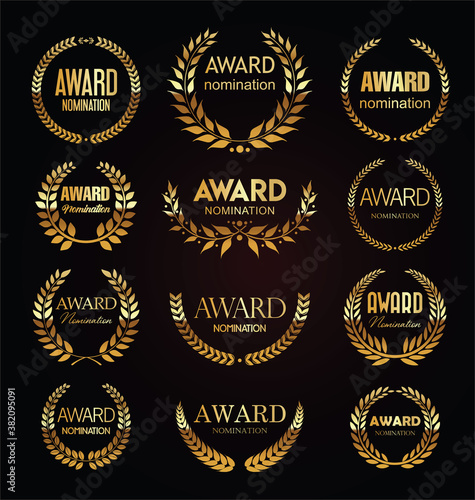 Fototapeta Golden award signs with laurel wreath isolated on black background